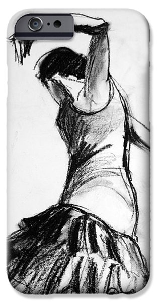 Joyful Drawings iPhone Cases - Flamenco Sketch 2 iPhone Case by Mona Edulesco