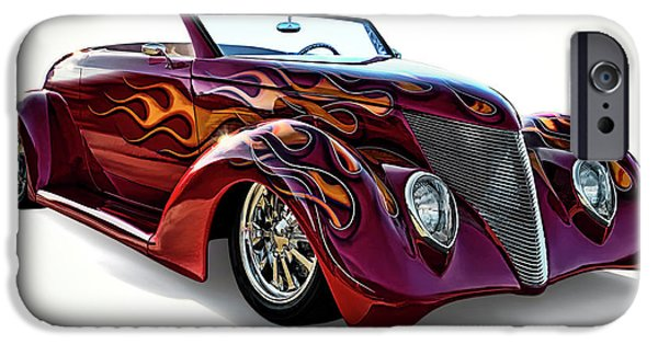 Flaming iPhone Cases - Flamin Red Roadster iPhone Case by Douglas Pittman