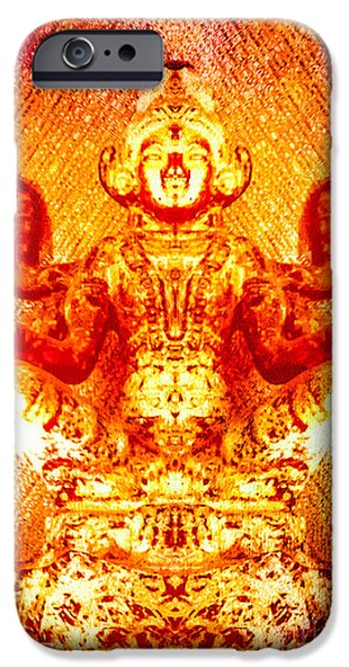 Hindu Goddess iPhone Cases - Flaming Golden Goddess iPhone Case by Heather Joyce Morrill