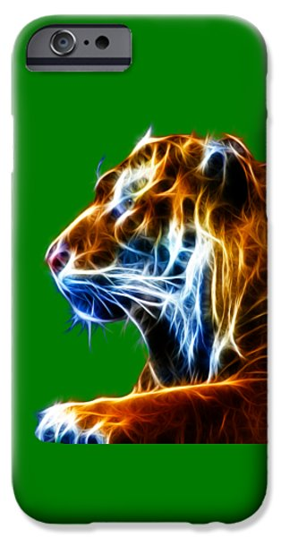 Flaming Tiger iPhone Case by Shane Bechler