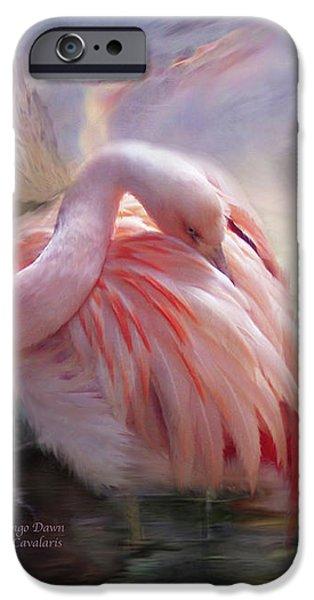 Flamingo iPhone Cases - Flamingo Dawn iPhone Case by Carol Cavalaris
