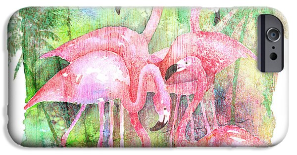Flamingo iPhone Cases - Flamingo Five iPhone Case by Arline Wagner