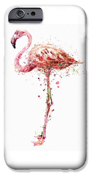 Modern Digital Digital Digital iPhone Cases - Flamingo Watercolor Painting iPhone Case by Marian Voicu