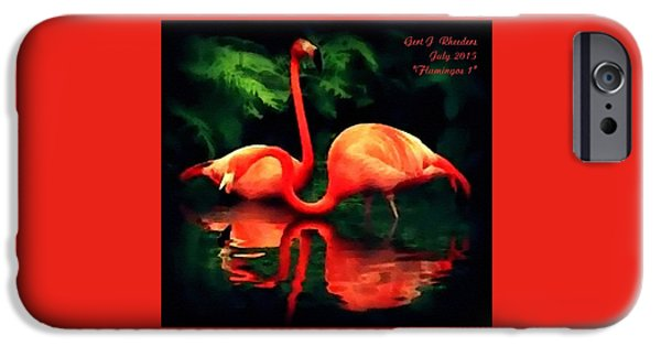 Abstract Digital Pastels iPhone Cases - Flamingos - 1 H A iPhone Case by Gert J Rheeders