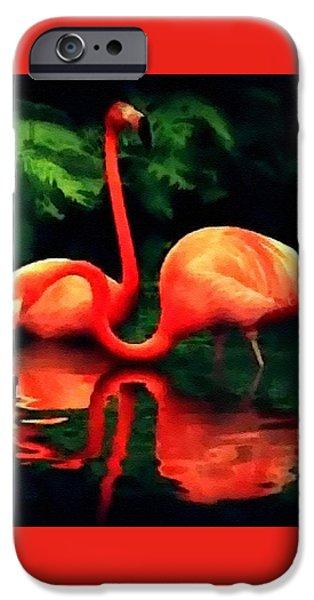 Abstract Digital Pastels iPhone Cases - Flamingos - 1 H B iPhone Case by Gert J Rheeders