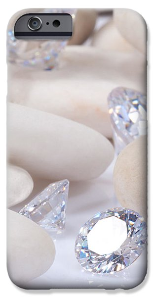 Close Up Jewelry iPhone Cases - Flashing Diamond iPhone Case by Atiketta Sangasaeng