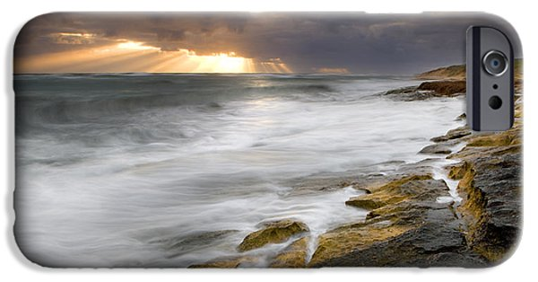 Ocean Sunset iPhone Cases - Flat Rocks Greenough iPhone Case by Karl Monaghan