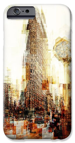 Hudson River iPhone Cases - Flatiron building fantasy iPhone Case by Alex Pyro