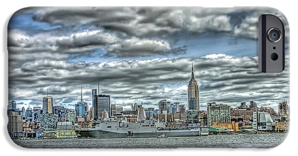 Hudson River iPhone Cases - Fleet Week from Hoboken to New York side iPhone Case by Geraldine Scull