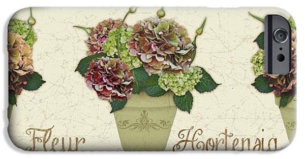 Floral Digital Art Digital Art iPhone Cases - Fleur Hortensia-JP3016 iPhone Case by Jean Plout