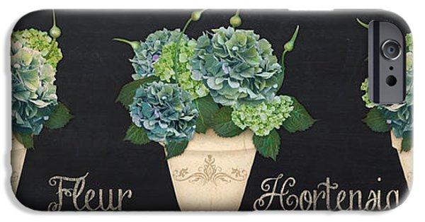 Floral Digital Art Digital Art iPhone Cases - Fleur Hortensia-JP3018 iPhone Case by Jean Plout