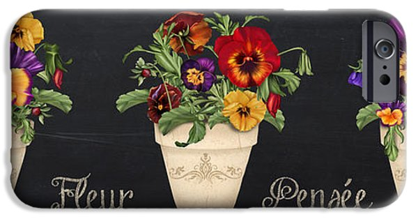 Floral Digital Art Digital Art iPhone Cases - Fleur Pensee-JP3013 iPhone Case by Jean Plout
