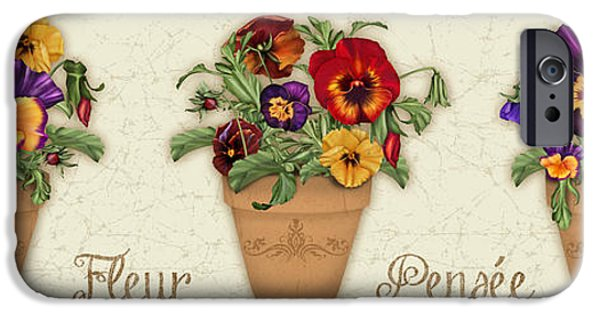 Floral Digital Art Digital Art iPhone Cases - Fleur Pensee-JP3014 iPhone Case by Jean Plout