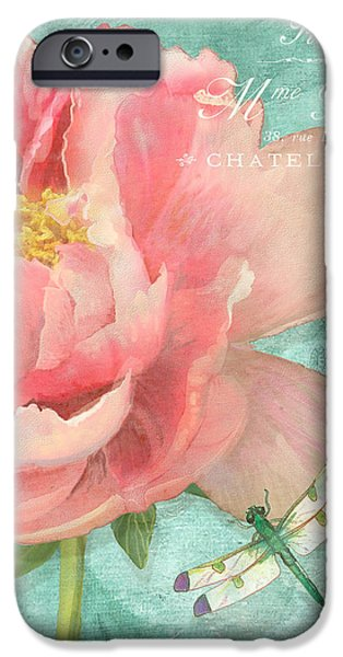 Dragonfly iPhone Cases - Fleura - Peony Garden iPhone Case by Audrey Jeanne Roberts