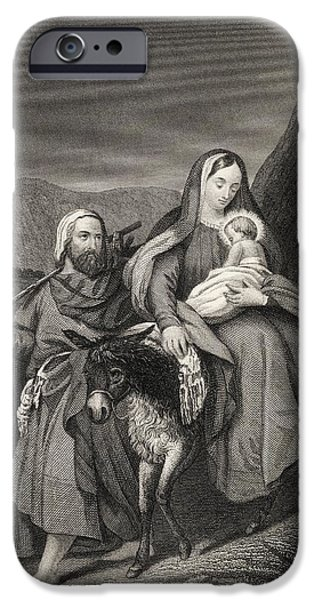 Jesus Drawings iPhone Cases - Flight Into Egypt From The National iPhone Case by Vintage Design Pics
