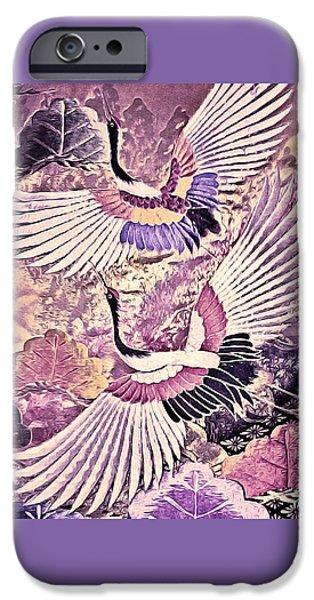 Flight iPhone Cases - Flight of Lovers - Kimono Series iPhone Case by Susan Maxwell Schmidt