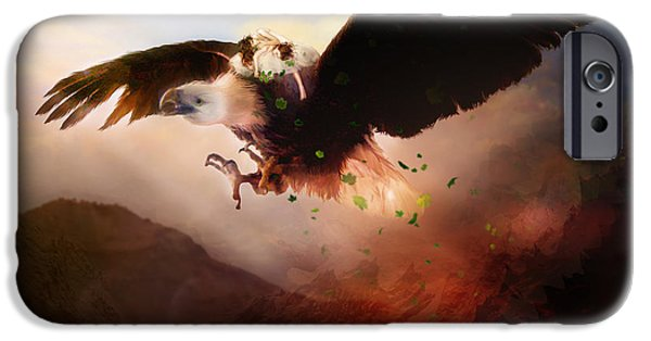 Escape Digital iPhone Cases - Flight of the Eagle iPhone Case by Karen K