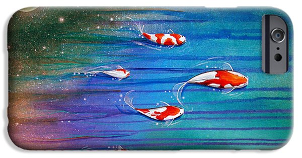 Koi iPhone Cases - Flight Of The Eventide iPhone Case by Cindy Thornton