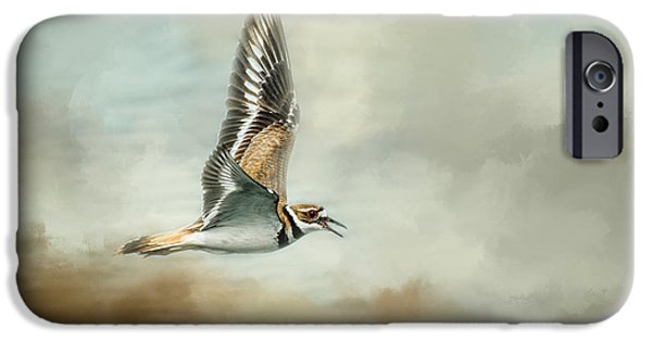 Deer At The Beach iPhone Cases - Flight Of The Killdeer iPhone Case by Jai Johnson