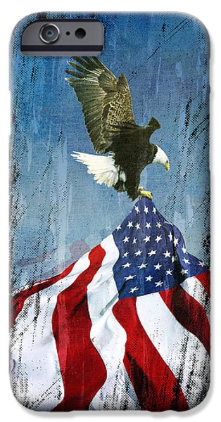 Old Glory iPhone Cases - Flight to Freedom vintage iPhone Case by Filippo B