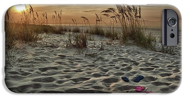 Micdesigns iPhone Cases - Flipflops on the Beach iPhone Case by Michael Thomas