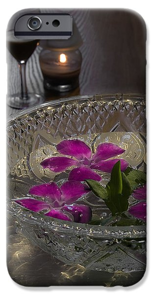 Floral Photographs iPhone Cases - Floating Flowers and Candle iPhone Case by Svetlana Sewell