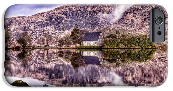 Gougane Barra Church iPhone Cases - Floating Mirror iPhone Case by Joe Ormonde