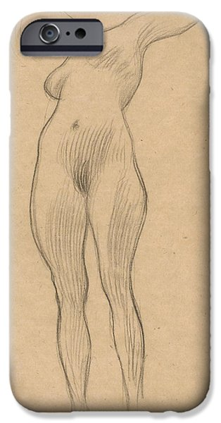 20th Drawings iPhone Cases - Floating Woman with Outstretched Arm iPhone Case by Gustav Klimt