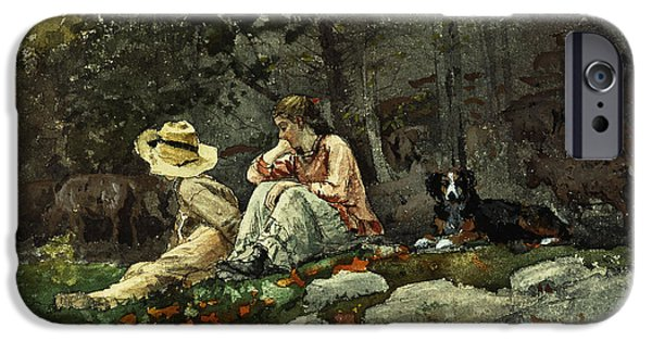 Winslow Homer iPhone Cases - Flock of Sheep Houghton Farm iPhone Case by Winslow Homer