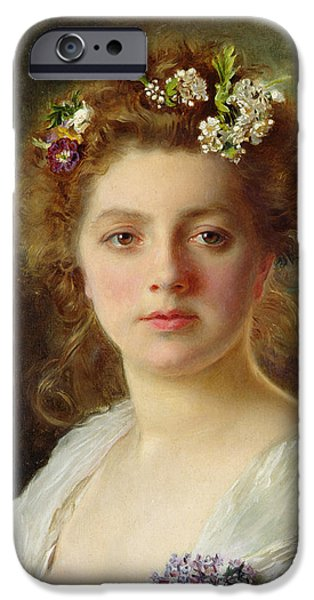 Beautiful Faces Paintings iPhone Cases - Flora iPhone Case by Gustave Jacquet