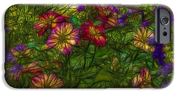 Contemporary Abstract iPhone Cases - Floral 2 iPhone Case by Jean-Marc Lacombe