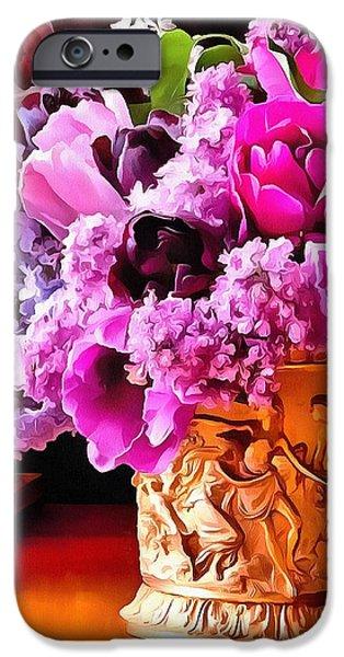 Floral Digital Art Digital Art iPhone Cases - Floral Bucket Heavy Paint iPhone Case by Catherine Lott
