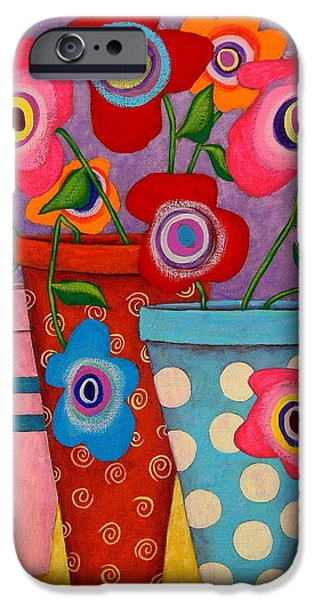 Whimsical. Paintings iPhone Cases - Floral Happiness iPhone Case by John Blake