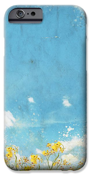 Retro Abstract iPhone Cases - Floral In Blue Sky And Cloud iPhone Case by Setsiri Silapasuwanchai