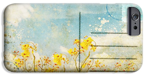 Aging iPhone Cases - Floral In Blue Sky Postcard iPhone Case by Setsiri Silapasuwanchai