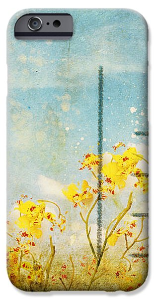 floral in blue sky postcard iPhone Case by Setsiri Silapasuwanchai