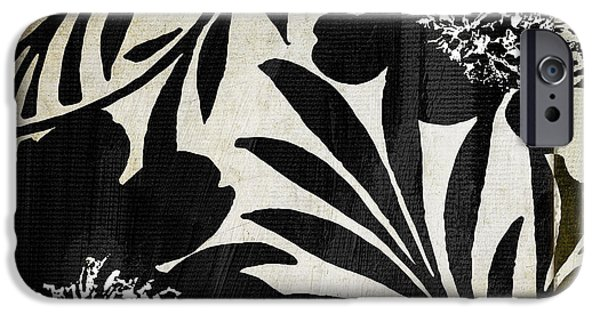 White Flowers Paintings iPhone Cases - Floral Jungle Lines iPhone Case by Mindy Sommers