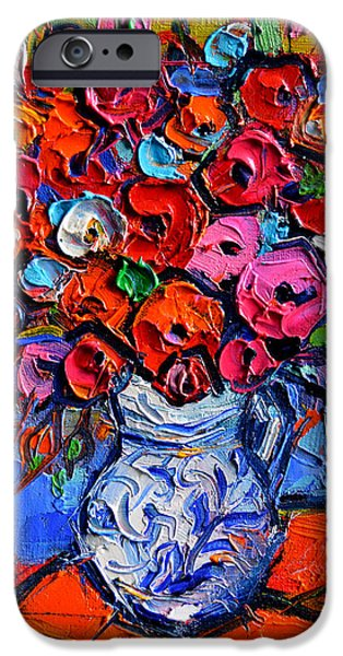 Red Abstract iPhone Cases - Floral Miniature - Abstract 0715 - Colorful Bouquet iPhone Case by Mona Edulesco