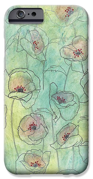 Florals iPhone Cases - Floral Pattern On A Watercolor iPhone Case by Gillham Studios