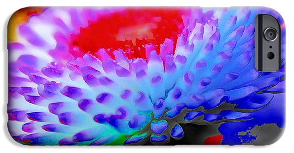 Catherine White Digital iPhone Cases - Floral Rainbow Splattered In Thick Paint iPhone Case by Catherine Lott