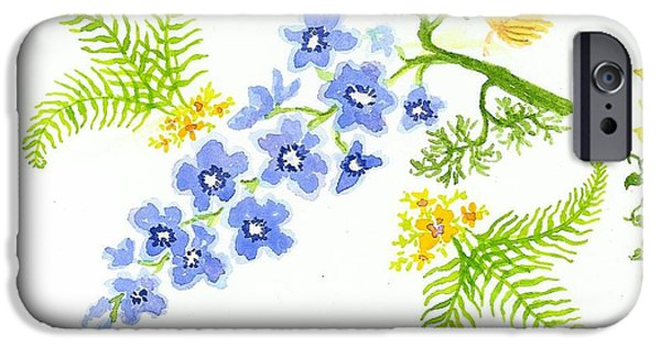 Nature Study Paintings iPhone Cases - Floral Study iPhone Case by Anne Marie Brown