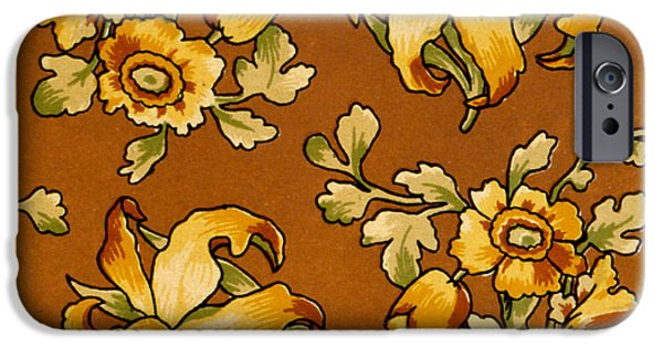 Flora Drawings iPhone Cases - Floral Textile Design iPhone Case by English School