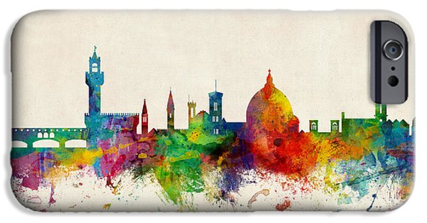 Florence iPhone Cases - Florence Italy Skyline iPhone Case by Michael Tompsett