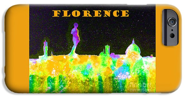 Florence Cathedral iPhone Cases - Florence Italy Skyline - Orange Banner iPhone Case by Bill Holkham