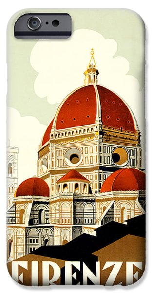 Santa Drawings iPhone Cases - Florence Travel Poster iPhone Case by Italian School