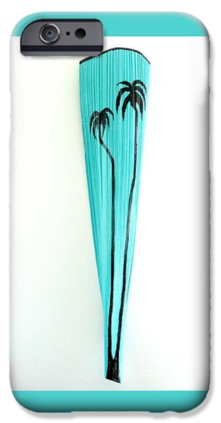 House Sculptures iPhone Cases - Florida Turquiose Orginal Palm Frond Wall Vase iPhone Case by Janet Craig