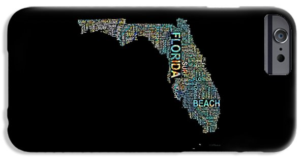 Charlotte Mixed Media iPhone Cases - Florida Word Art Map iPhone Case by Barbara Chichester