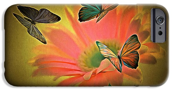 Caruso iPhone Cases - Flower and Butterflies iPhone Case by Anthony Caruso