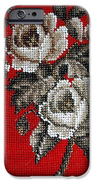 Fauna Tapestries - Textiles iPhone Cases - Flower Beadwork iPhone Case by Virginia Morley