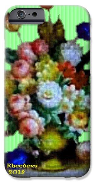 Digital Art Pastels iPhone Cases - Flower Bouquet Catus 1 no. 4 V a iPhone Case by Gert J Rheeders